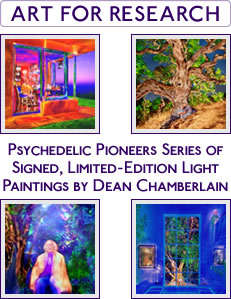 ART FOR RESEARCH - Psychedelic Pioneers Series of Signed, Limited-Edition Light Paintings by Dean Chamberlain - Psychedelic Art - Albert Hofmann, Laura Huxley, Ann & Sasha Shulgin, Ram Dass