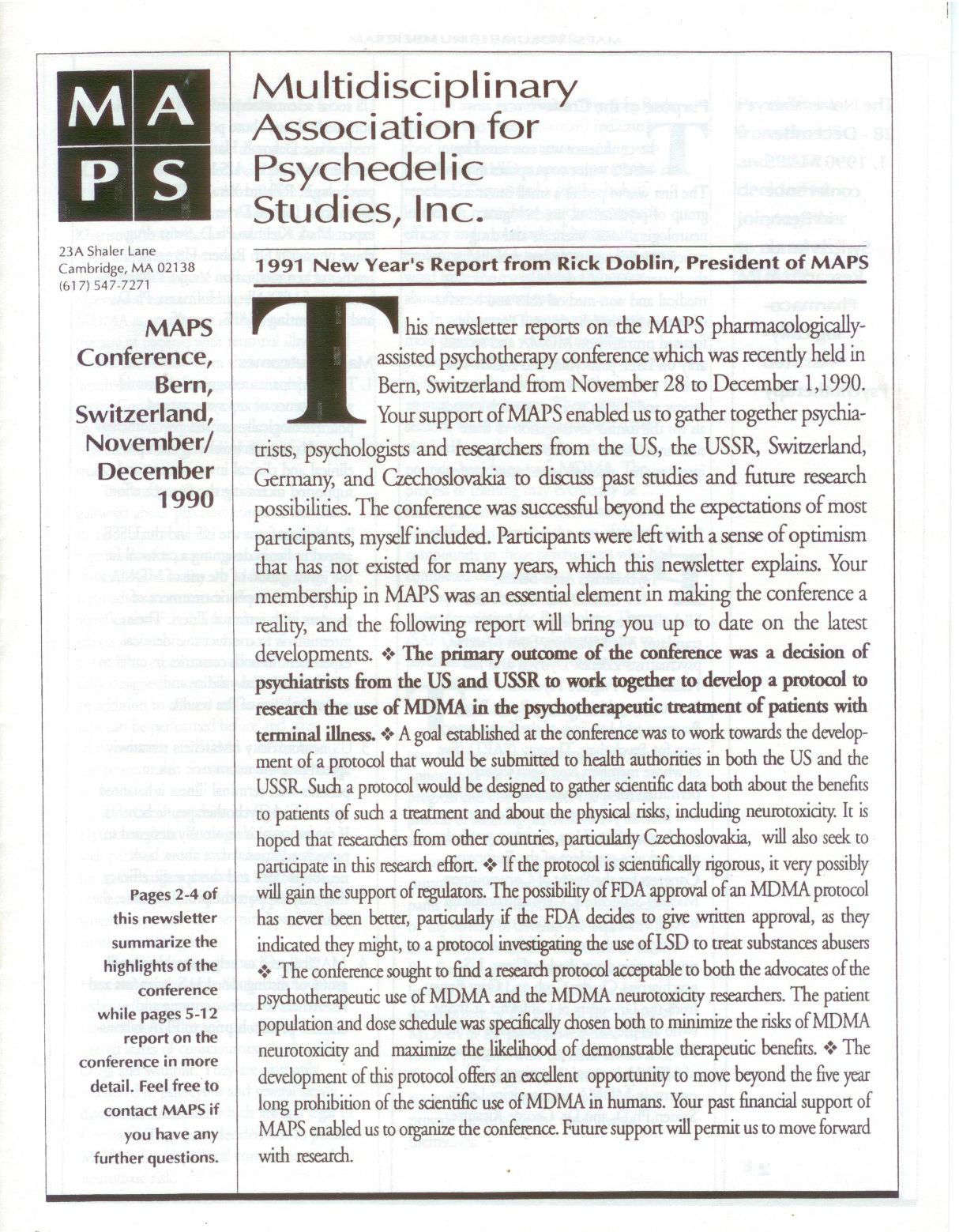 MAPS Bulletin Winter 1990/91: Vol. 02, No. 1 MAPS' Swiss Pharmacologically-Assisted Psychotherapy Conference