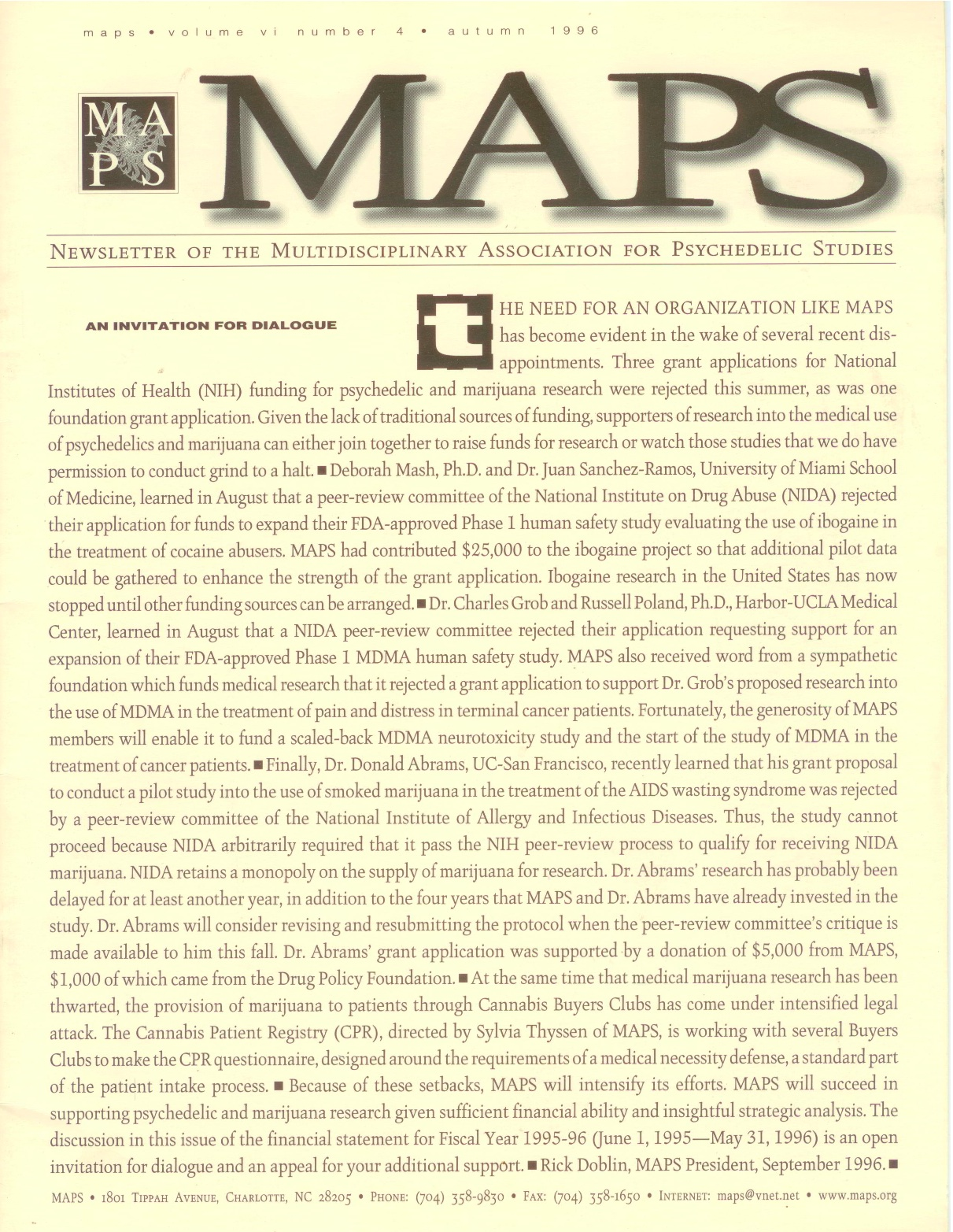 MAPS Bulletin Vol vi No 4: Autumn 1996 - Front Cover Image - Psychedelic Art -  by