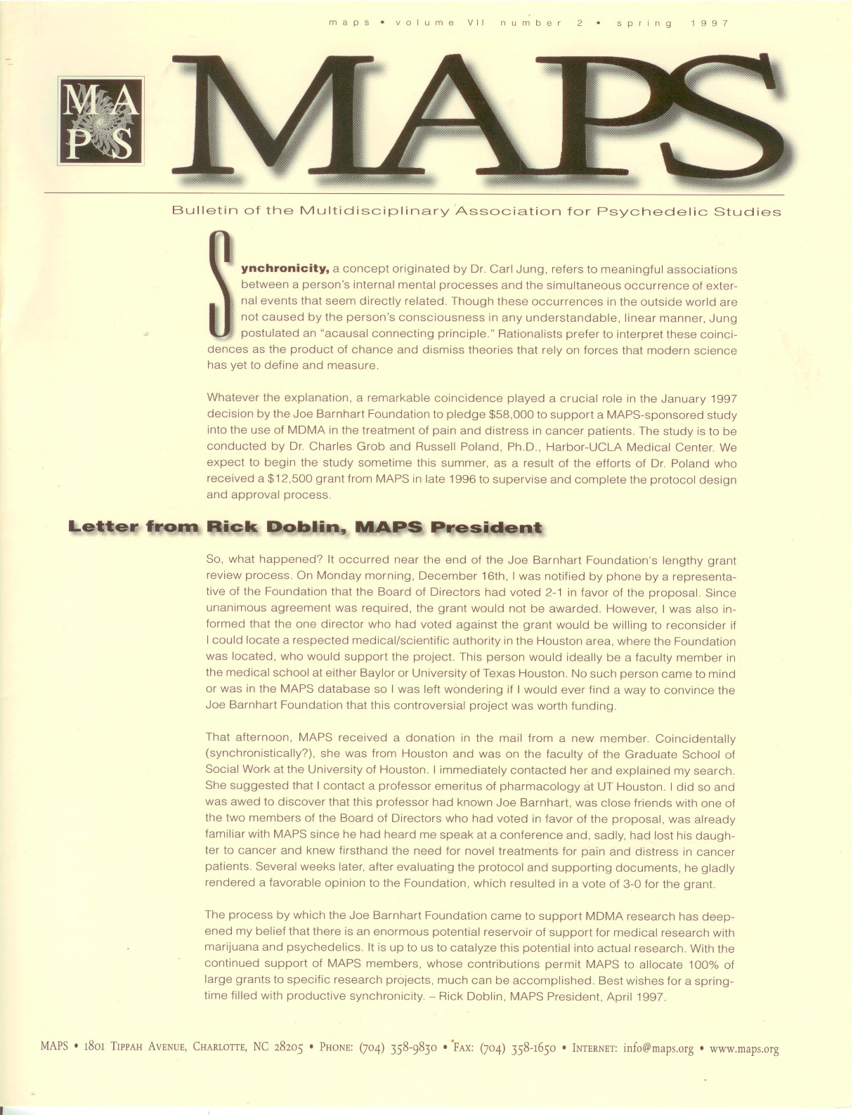 MAPS Bulletin Vol vii No 2: Spring 1997 - Front Cover Image - Psychedelic Art -  by