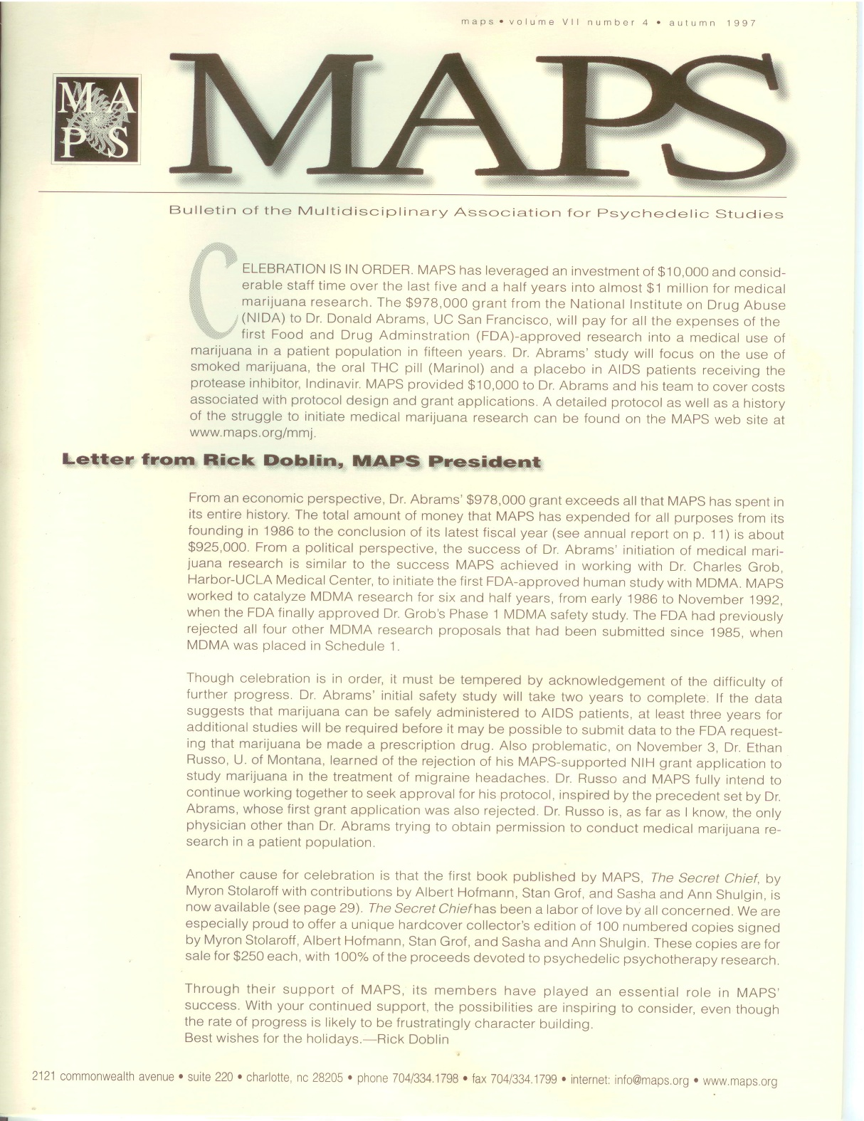 MAPS Bulletin Vol viii No 4: Autumn 1997 - Front Cover Image - Psychedelic Art -  by