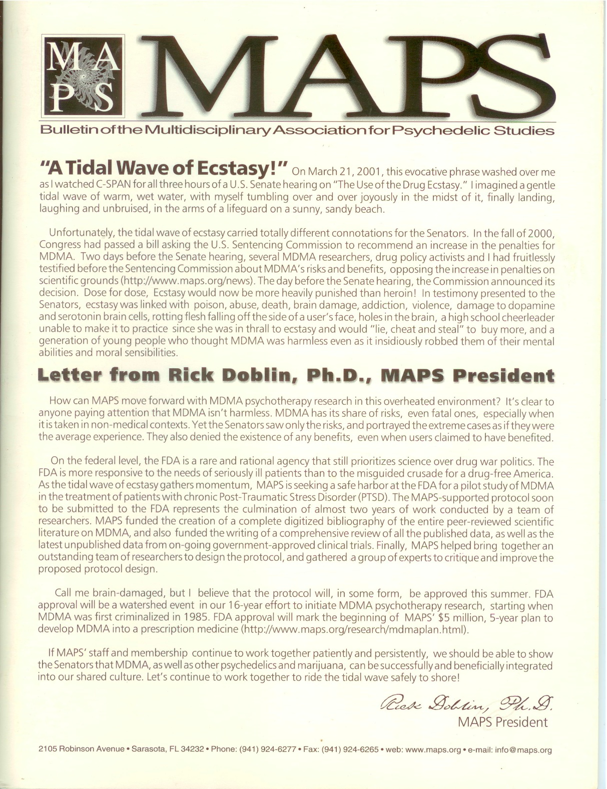 MAPS Bulletin Vol xi No 1: Spring 2001 - Front Cover Image - Psychedelic Art -  by