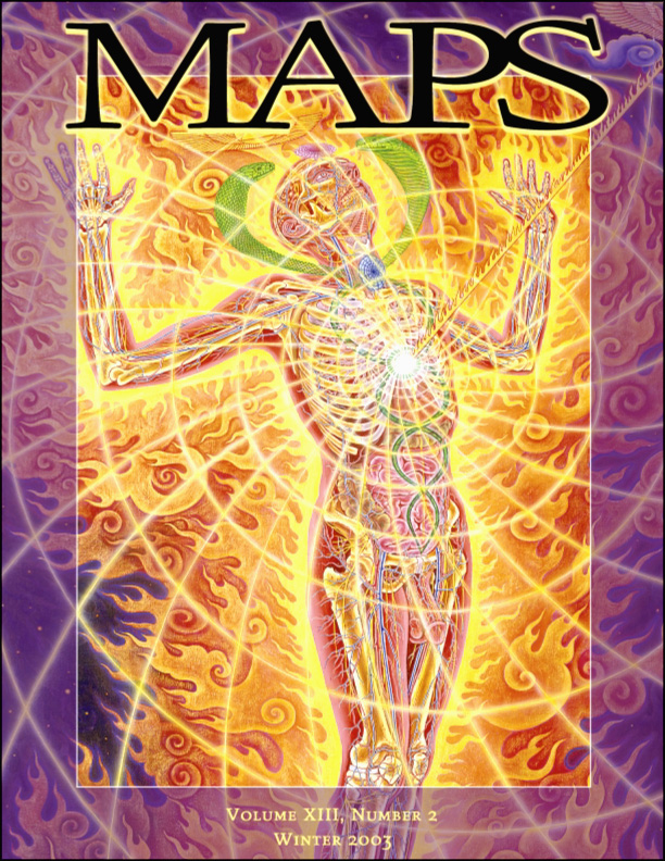 MAPS Bulletin Vol xiii  No 2: Winter 2003 - Front Cover Image - Psychedelic Art - Holy Fire (Panel 1) by Alex Grey