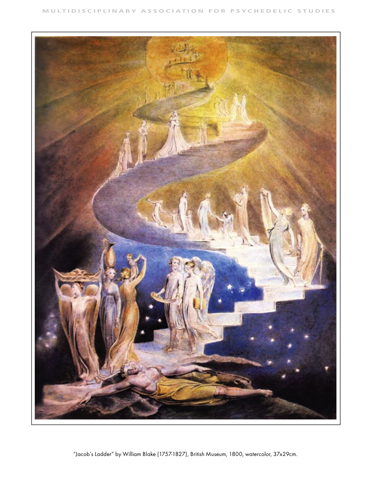 MAPS Bulletin Vol xx No 1: Spring 2010 - Inside Cover Image - Psychedelic Art - Jacob's Ladder by William Blake (1757-1827)