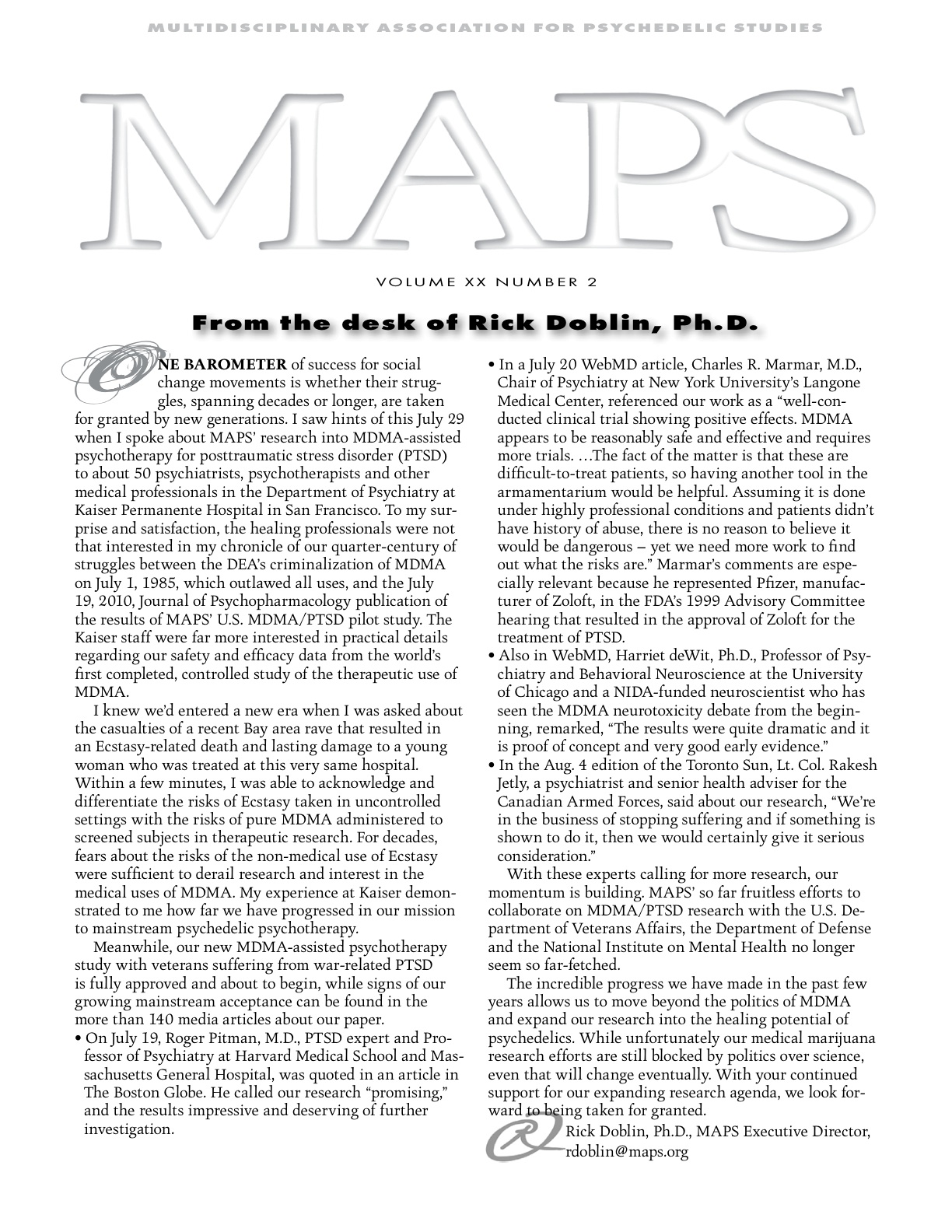 MAPS Bulletin Vol XX No 2: Summer 2010 - Front Cover Image - Psychedelic Art -  by