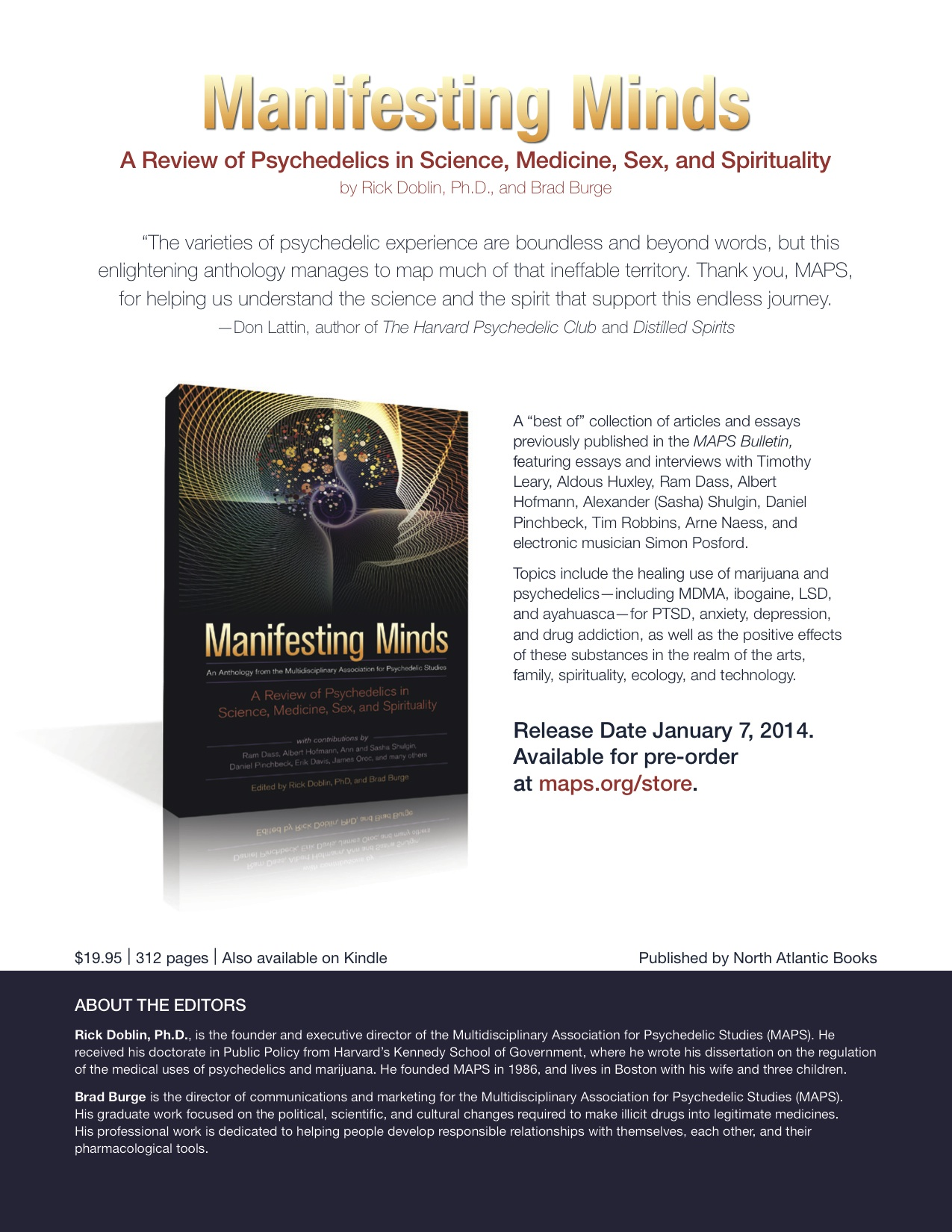 MAPS Bulletin Vol XXIII No 3: Winter 2013 - Inside Cover Image - Psychedelic Art - Now Available: Manifesting Minds: A Review of Psychedelics in Science, Medicine, Sex, and Spirituality by